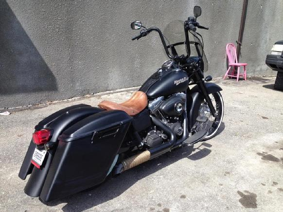 harley fld switchback with our extended bags and fender
