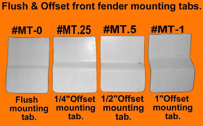 flat and offset motorcycle front fender mounting brackets / tabs